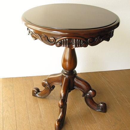 コーヒーテーブル 無垢 アンティーク風 カフェテーブル 木製 サイドテーブル マホガニーラウンドテーブルC【送料無料】