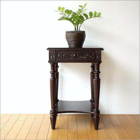 花台 彫刻 アンティーク調 サイドテーブル 電話台 クラシック デザイン アンティークな花台【送料無料】
