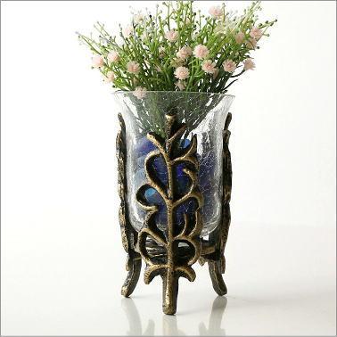 花瓶 フラワーベース アイアンとガラスのベース B