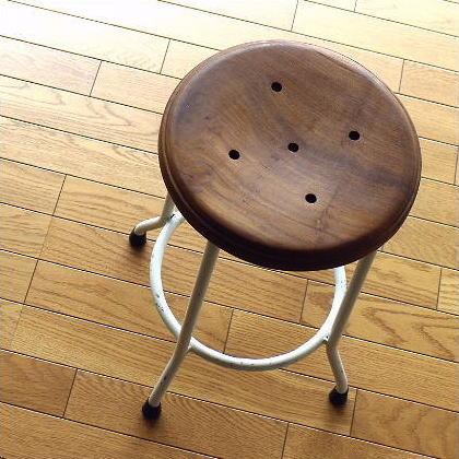 スツール 高さ50cm ホワイトアイアン シャビー レトロ 天然木 無垢材 椅子 ホワイトアイアンとウッドのスツール M【送料無料】