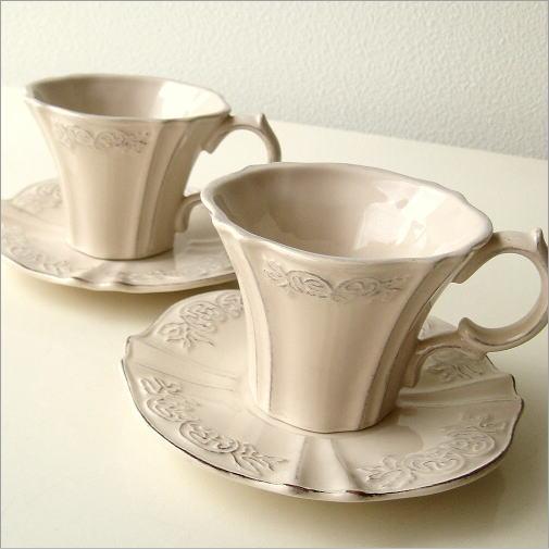 ティーカップ コーヒーカップ カップ&ソーサー セット 陶器 おしゃれ アンティークなペアカップ ベージュ