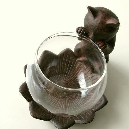 小物入れ ガラス 花瓶 インテリアオブジェ かわいい 猫雑貨 置物 子ネコのミニベース