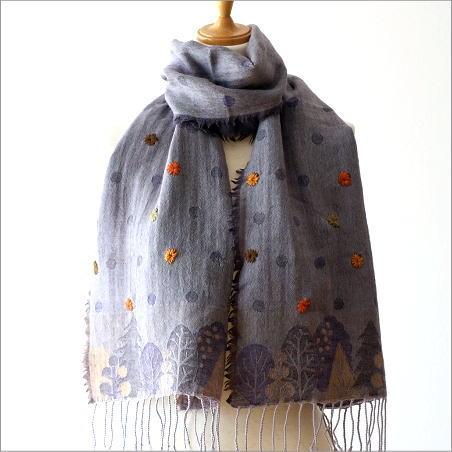 ウールコットンツリー&刺繍ミニショール