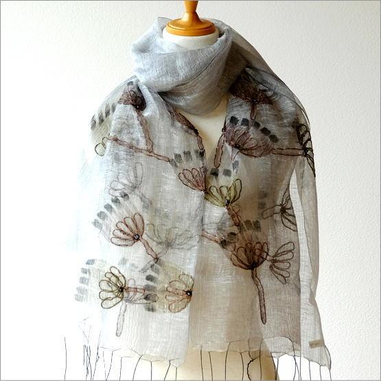 リネンシルク花柄刺繍ショール