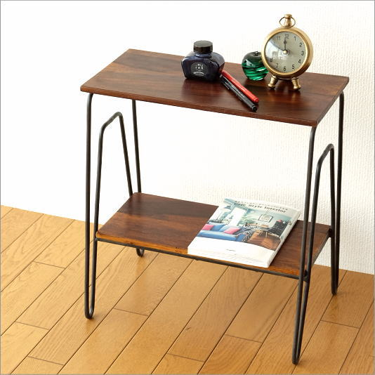 サイドテーブル 木製 アイアン 棚 シェルフ ソファサイドテーブル ナイトテーブル シーシャム2段サイドテーブル【送料無料】