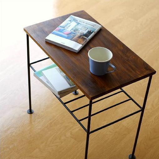 サイドテーブル 木製 アイアン 棚付き シーシャムサイドテーブル A【送料無料】