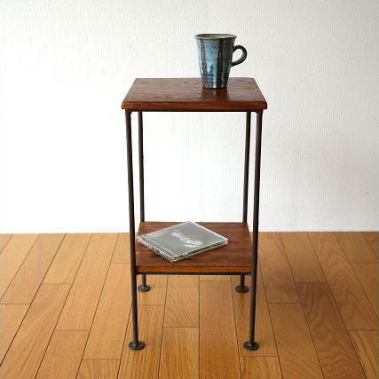 サイドテーブル 木製 アイアン 棚付き シーシャムサイドテーブル C