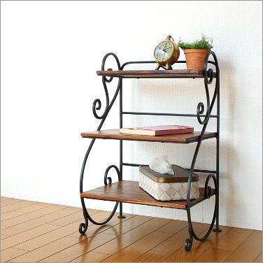 木製 アイアンシェルフ ディスプレイラック 飾り棚 スクロール3段ラック【送料無料】