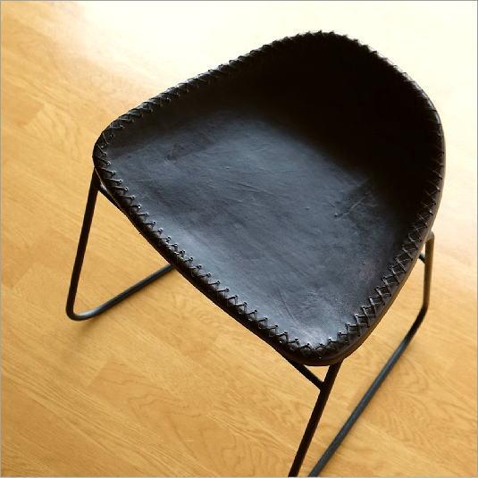 スツール アンティーク おしゃれ 椅子 いす イス チェア チェアー レザースツール アイアンと本革のスツールC【送料無料】