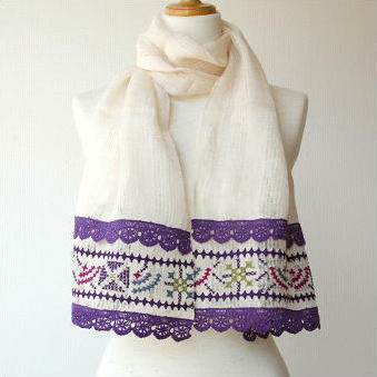 リネンレース&刺繍ショール