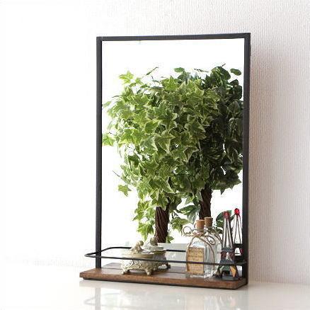 ウォールミラー 棚付き ラック 壁掛けミラー 壁掛け鏡 アイアン 木製 棚付きウォールミラー A【送料無料】