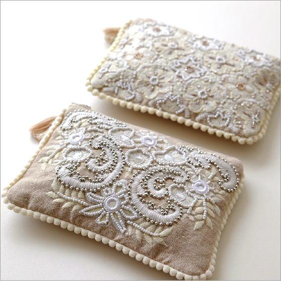 ビーズ刺繍フラットポーチB 2タイプ