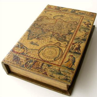 本型小物入れ ブック型収納ボックス 洋書 宝箱 シークレットボックス アンティーク ブックボックス L