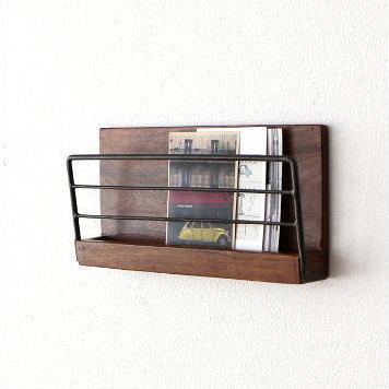 壁掛け 棚 ウォールラック 木製 アイアン ウォールシェルフ マガジンラック アイアンとウッドの壁掛けラック S