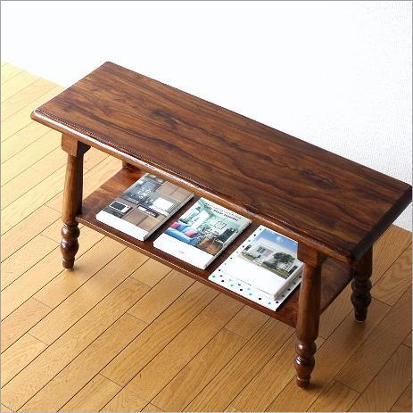 木製ベンチ 天然木 ウッドベンチ シーシャム棚付きベンチ【送料無料】