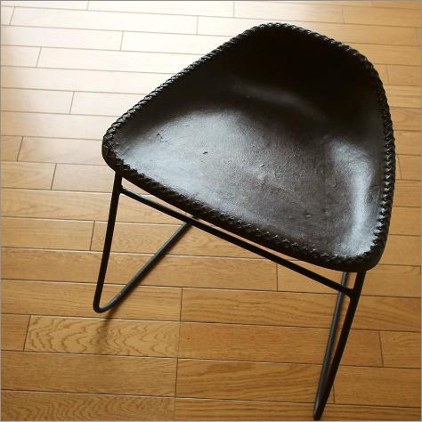 本革スツール デザイン レザースツール 本革椅子 スリム 軽量 アイアンと本革のスツールB