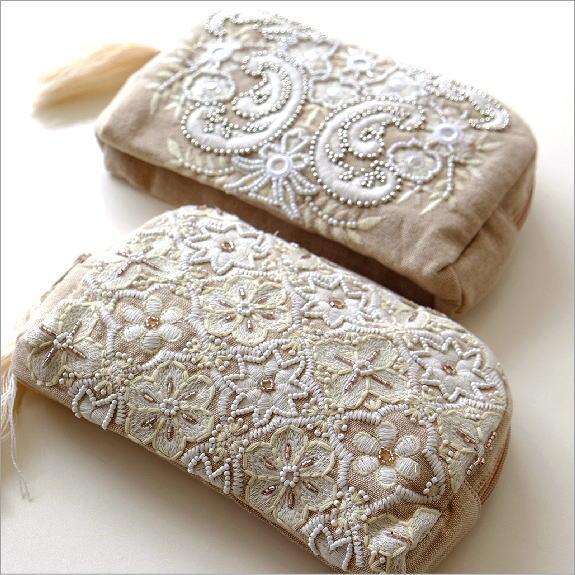 ビーズ刺繍スクエアポーチ 2タイプ