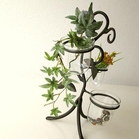 花瓶 フラワーベース アイアンとガラスの3ポットベース