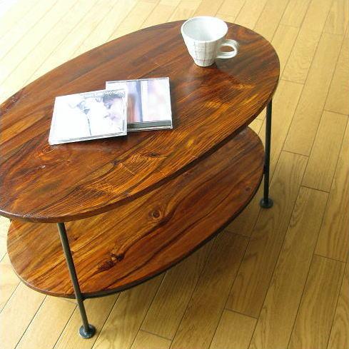 リビングテーブル 2段棚 木製 天然木 アイアン 鉄脚 コーヒーテーブル カフェテーブル シーシャムウッドオーバルテーブル【送料無料】