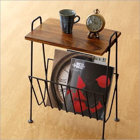 マガジンラック テーブル付き 木製 おしゃれ スリム シーシャムウッドのマガジンテーブルD【送料無料】