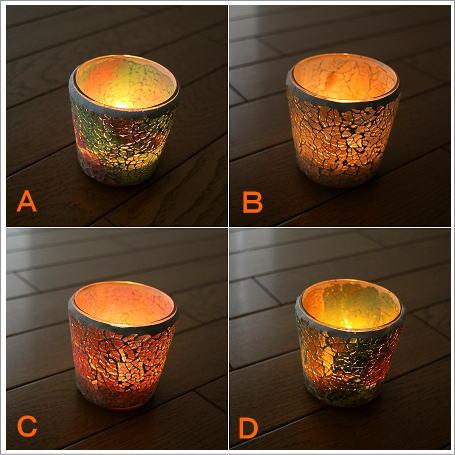 モザイクガラス キャンドルホルダー モザイクキャンドル付きカップ 5カラー