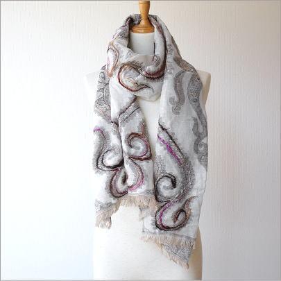リネンコットン刺繍ショール