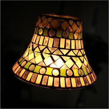 ペンダントライト モザイクガラス かわいい レトロ カフェ LED対応 シーリングライト モザイクガラスのペンダントライト ベルB