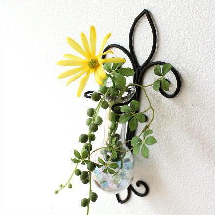 花瓶 フラワーベース ガラス 一輪挿し おしゃれ アイアン壁掛けベース エンブレム