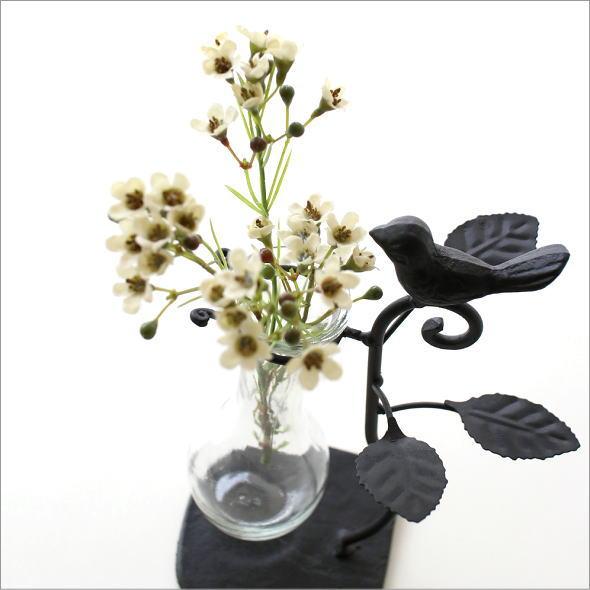 花瓶 ガラス おしゃれ かわいい フラワーベース フラスコ型 アイアンリーフの一輪挿し バード