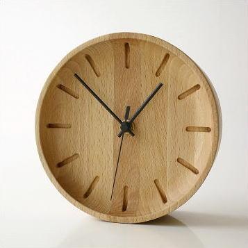 掛け時計 木製 モダン おしゃれ 置き時計 ウッドウォールクロック プチサークル