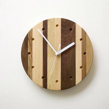 掛け時計 木製 ナチュラルインテリア ウッドウォールクロック モザイクサークル
