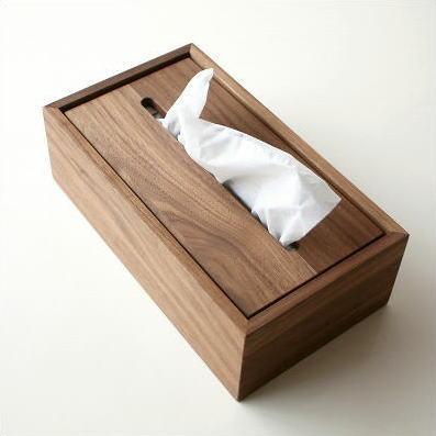 ティッシュケース ウォールナット 木製 天然木 シンプル デザイン ナチュラルウッドのティッシュボックス ウォルナット