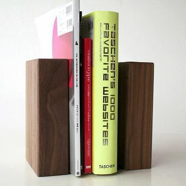 本立て 木製 ウォールナット シンプル おしゃれ 天然木 無垢 ナチュラルウッドのブックエンドB