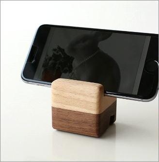 スマホスタンド おしゃれ 横置き 木製 シンプル iPhoneスタンド 携帯置き ブロック携帯スタンド
