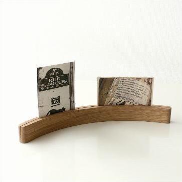 フォトスタンド 写真立て 木製 無垢 天然木 メモスタンド カーブカードスタンド オーク
