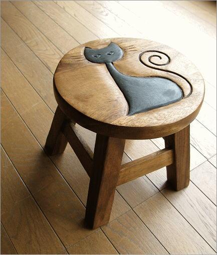 猫の木製ミニスツール かわいい 小さい椅子 観葉植物 花台 ミニテーブル 置き台 アジアン雑貨 子供椅子 ネコさん