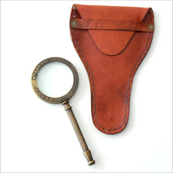 革のケース付き真鍮のミニルーペ