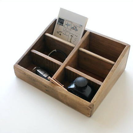 小物入れ 卓上 整理ボックス 仕切り 木製 カフェ レトロ インテリア シャビーシックなマルチホルダー