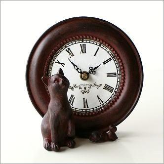 置時計 アンティーク風 インテリア 置き時計 おしゃれ レトロ 猫 ねずみ かわいい スタンドクロック テーブルクロック キャット&マウスクロック