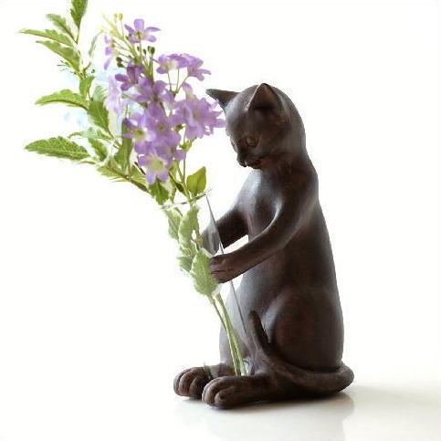 一輪挿し 花瓶 猫 置物 かわいい インテリアオブジェ 試験管 ガラス 花器 フラワーベース ペン立て ネコの一輪挿し