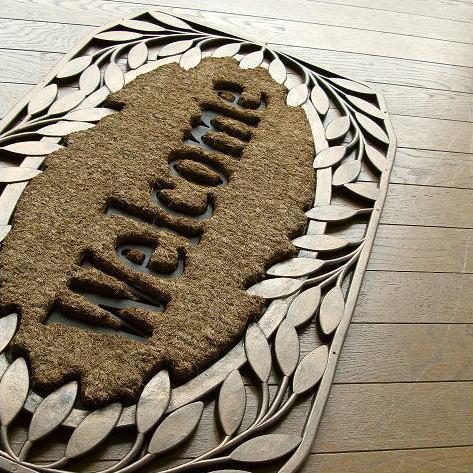 玄関マット 屋外 外用 Welcome(ウェルカム)  ラバーマット コイヤーマット ココヤシ 天然素材 おしゃれ ドアマット 77×46cm エントランスマット F