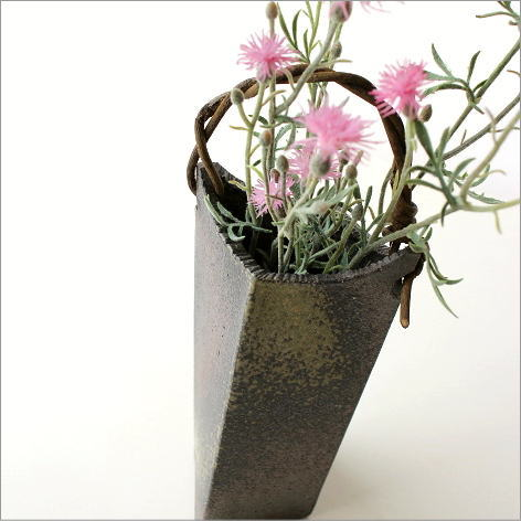 花器 花瓶 信楽焼 おしゃれ 和風 フラワーベース 和陶器ベース 蔓付きB