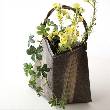 花器 花瓶 信楽焼 おしゃれ 和風 フラワーベース 和陶器ベース 蔓付きA