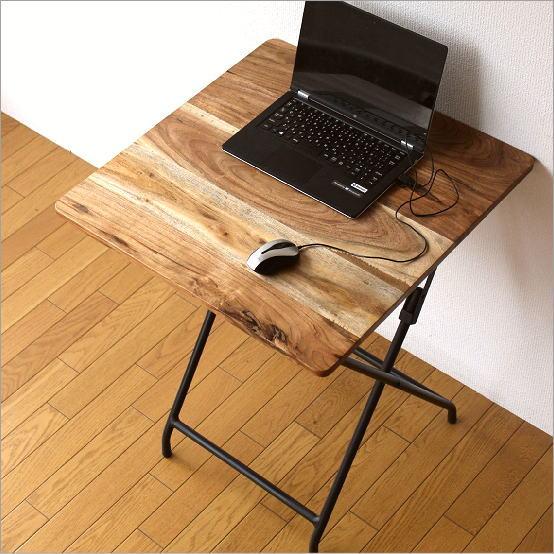 アイアンとウッドの折りたたみテーブル【送料無料】