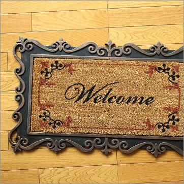 玄関マット 屋外 外用 Welcome(ウェルカム) ラバーマット 天然素材 ココヤシ おしゃれ ゴムマット 75×45cm エントランスマット R
