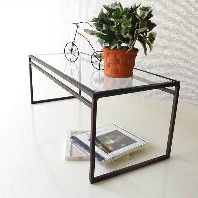 アイアンとガラスのシンプル棚 A
