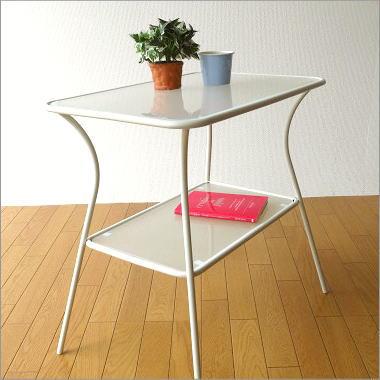 ガラステーブル リビングテーブル センターテーブル コーヒーテーブル スチールとガラスのホワイトテーブル