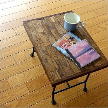 サイドテーブル 木製 ベッドサイドテーブル ソファサイドテーブル アジアン家具 アイアンとウッドの組み木ローテーブル