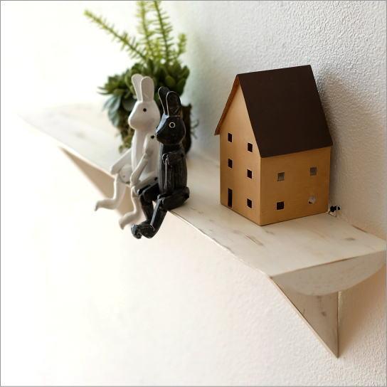 シンプルな古木のウォール棚 ホワイト