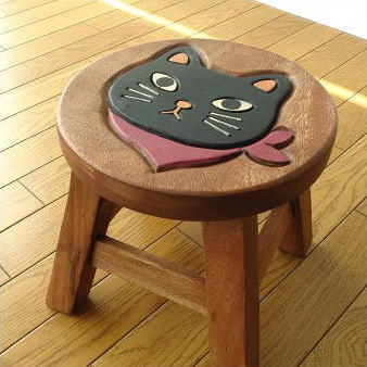 子供椅子 スカーフ黒ネコさん